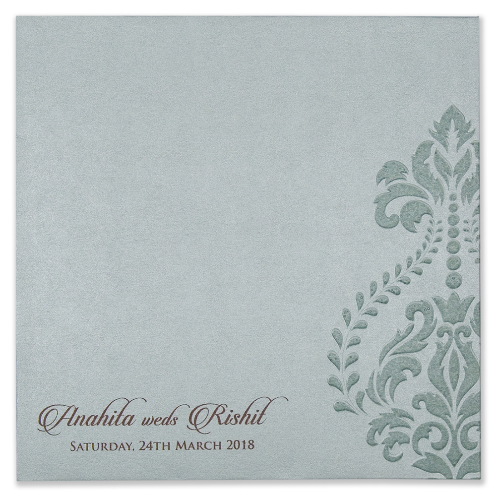 Multifaith Floral Wedding Invitation Card In Mint Green Colour