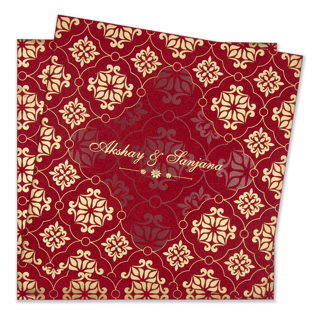 Multifaith floral wedding invitation card in red & golden colours ...