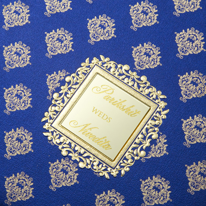 Multifaith Indian wedding card in blue with golden motifs - Click Image to Close