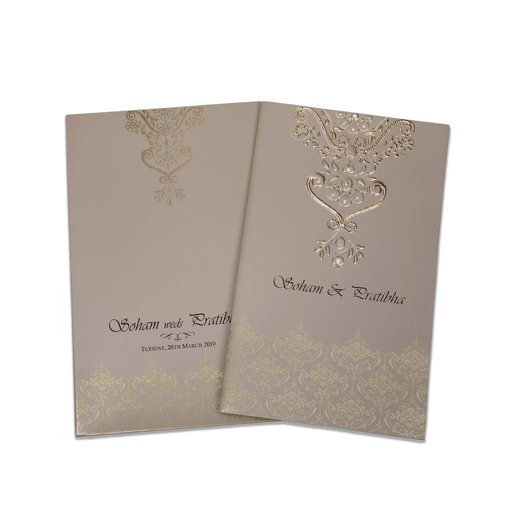 Multifaith Indian wedding card in golden beige with golden motifs