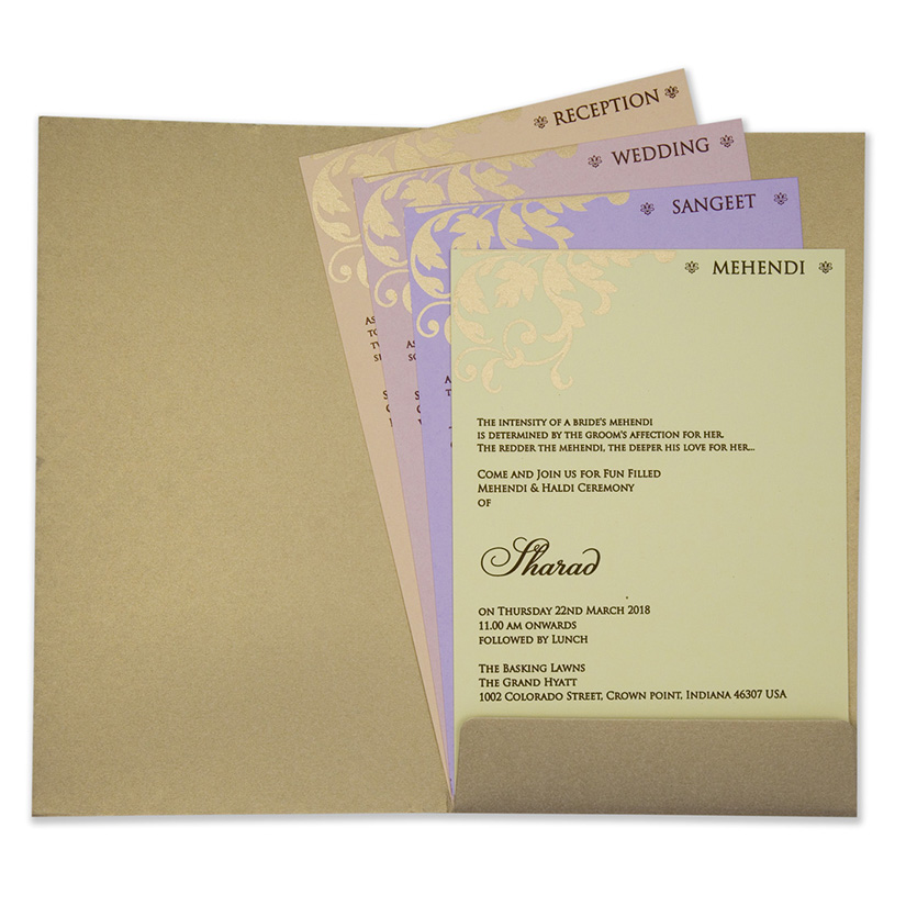 Multifaith Indian wedding card in light brown and powder blue color - Click Image to Close