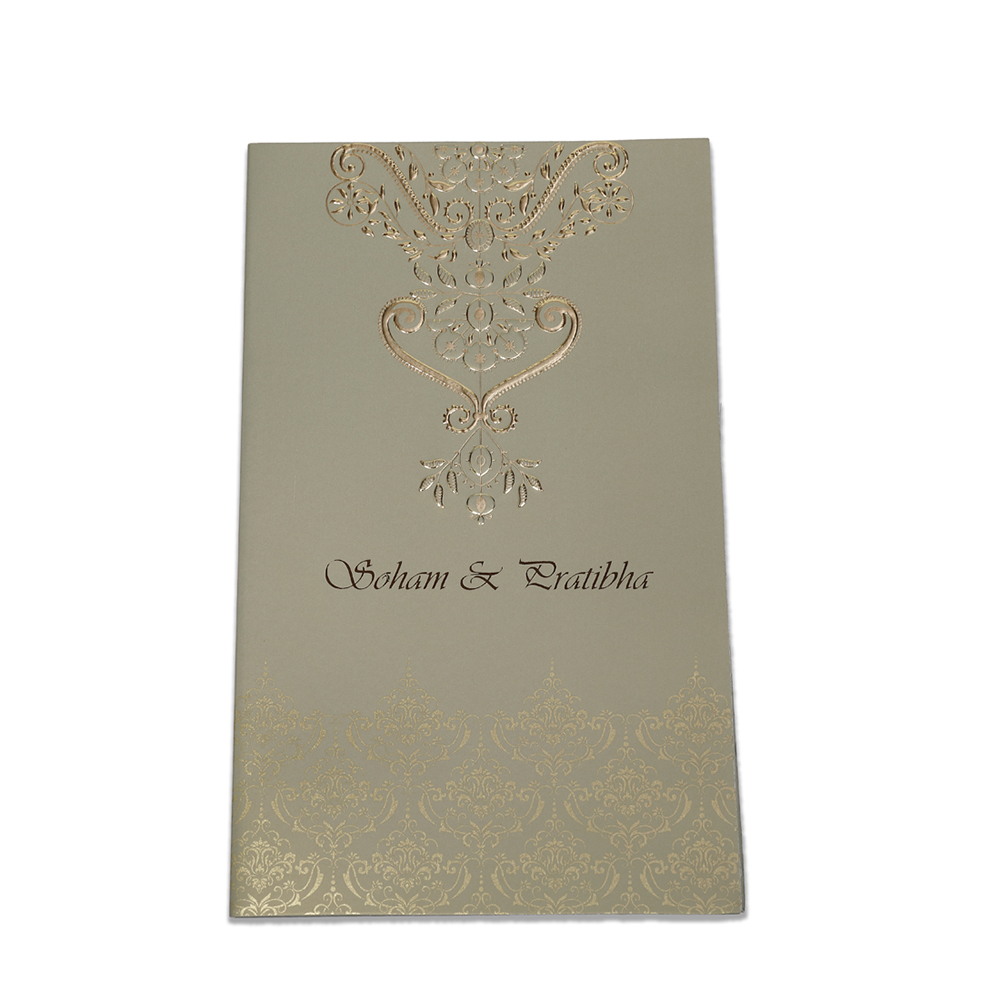 Multifaith Indian wedding card in metallic green with golden motifs - Click Image to Close