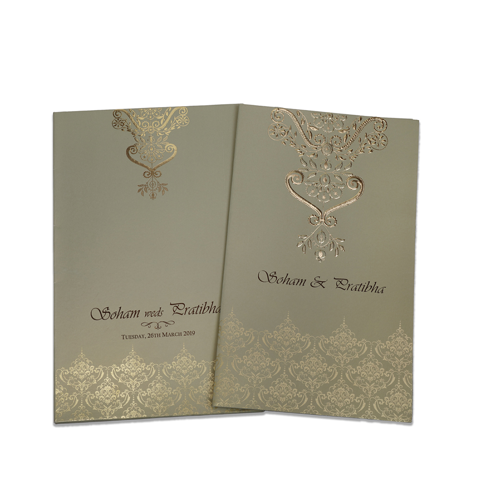 Multifaith Indian wedding card in metallic green with golden motifs