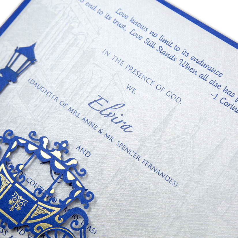 Multifaith Indian wedding card with a chariot in blue and Ivory color - Click Image to Close