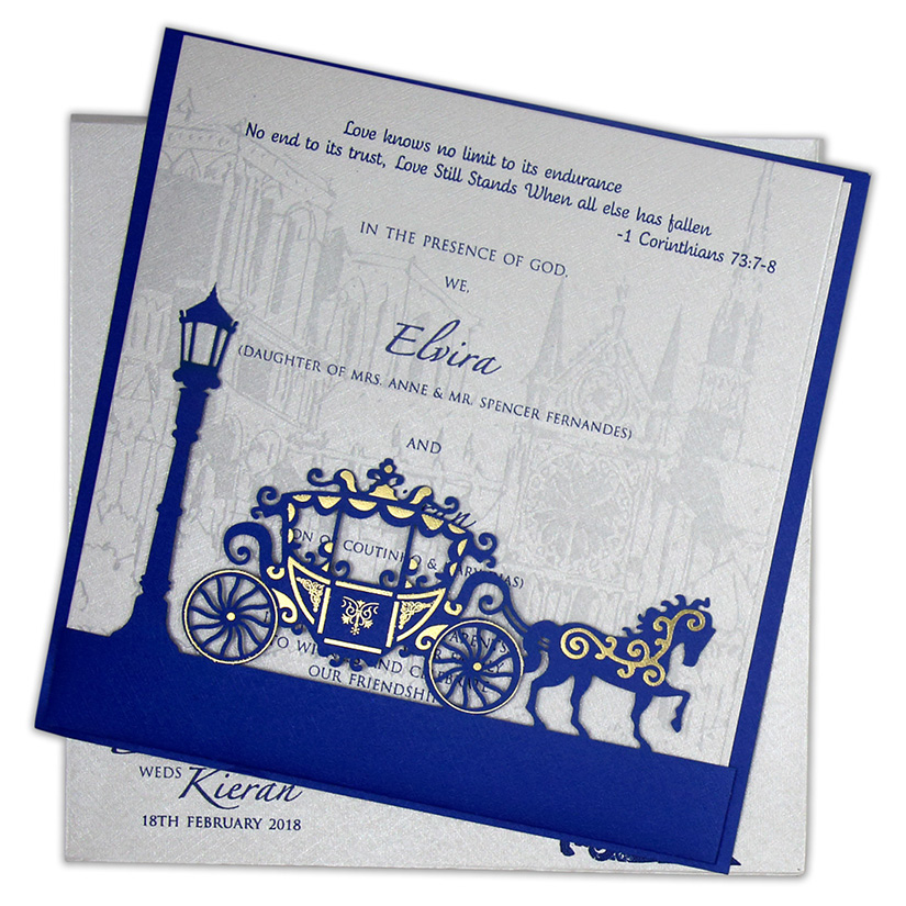 Multifaith Indian wedding card with a chariot in blue and Ivory color