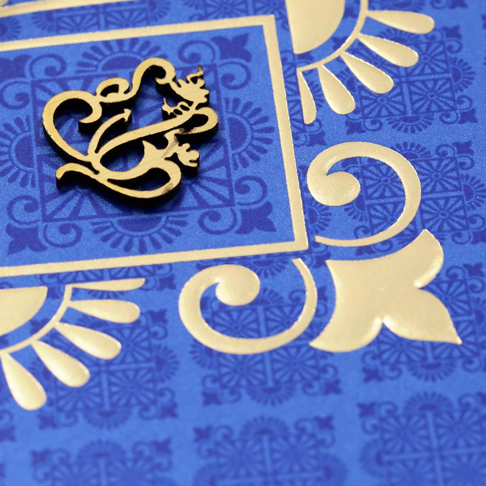 Multifaith indian wedding invitation card in royal blue and golden multifaith indian wedding invitation card in royal blue and golden colour stopboris Choice Image