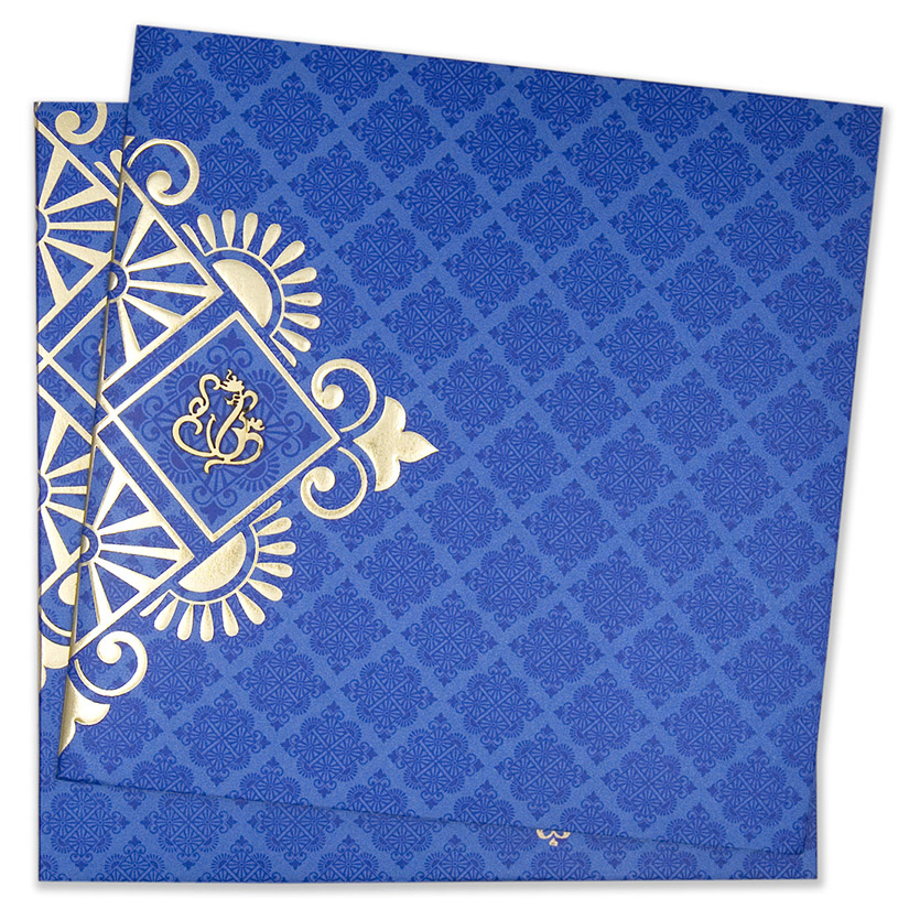 Multifaith indian wedding invitation card in royal blue and golden multifaith indian wedding invitation card in royal blue and golden colour stopboris Choice Image
