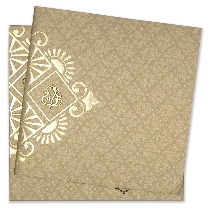 Multifaith Indian wedding invitation card in shiny brown and golden ...