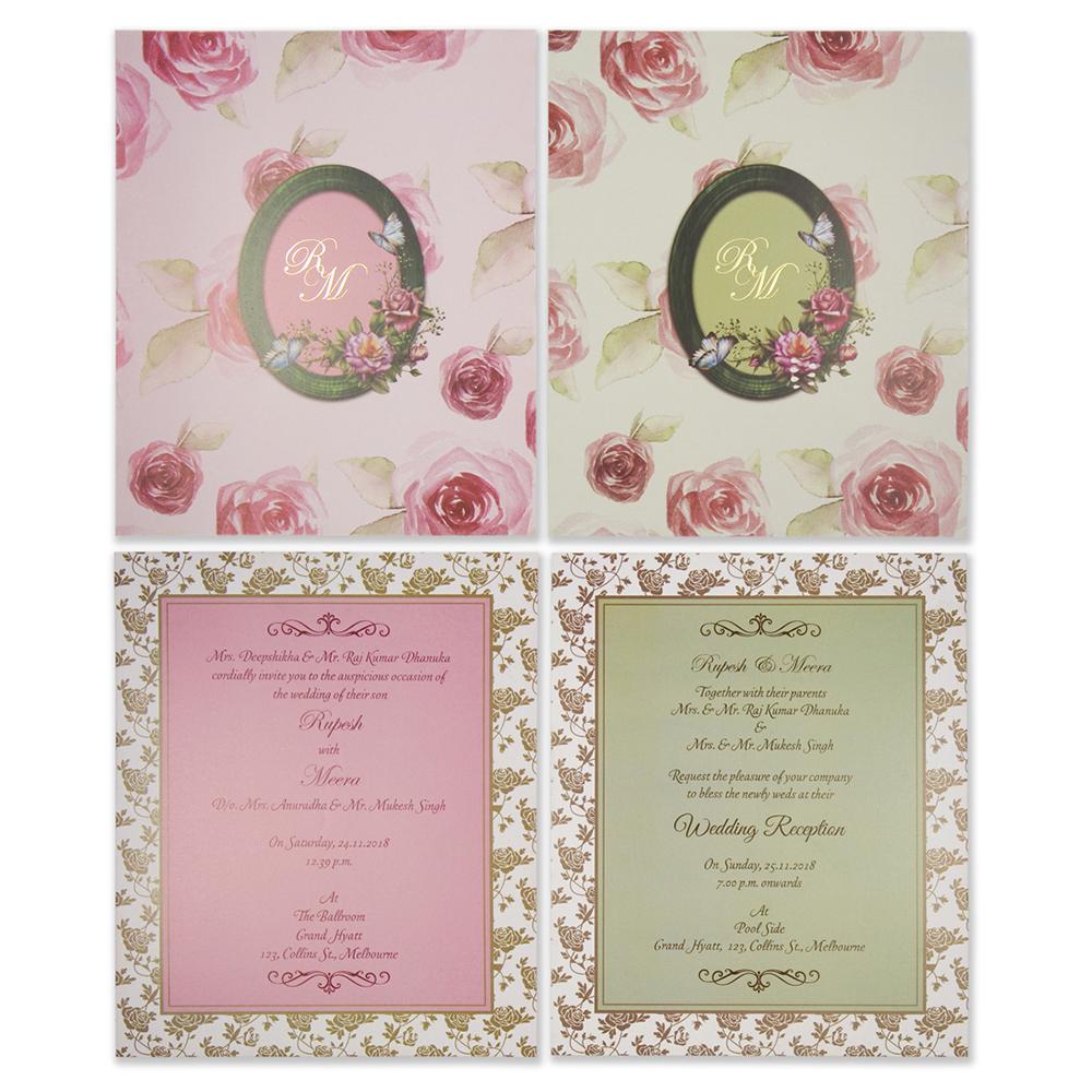 Multifaith Indian wedding invitation in rose theme