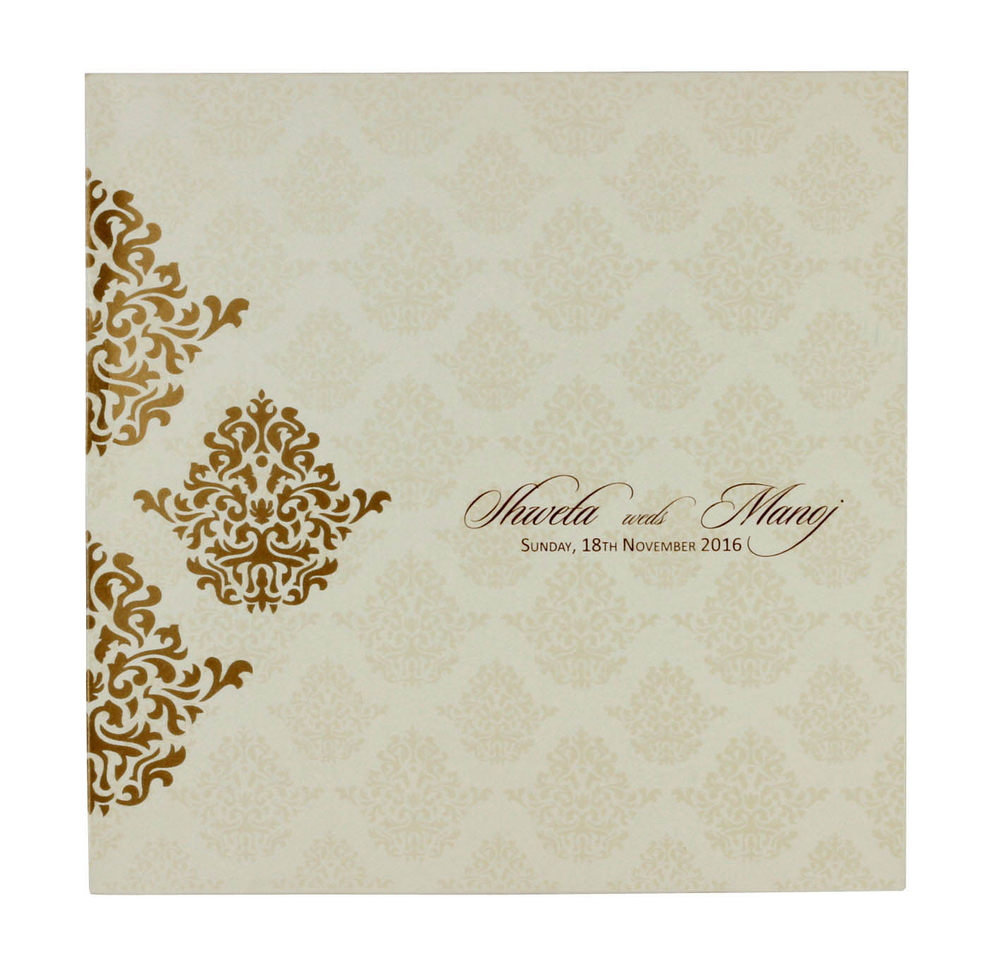 Multifaith ivory colour wedding invitation with golden motifs