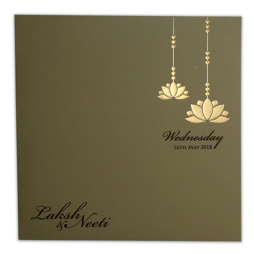 Multifaith lotus themed wedding invite in dusty olive colour - Click Image to Close