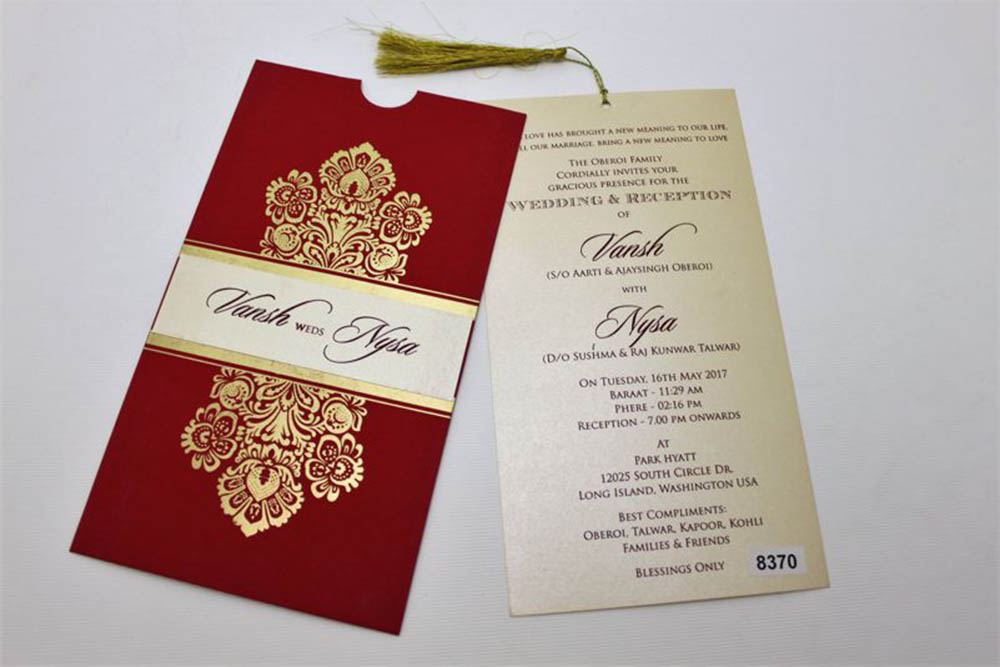 Multifaith wedding card in red with golden design & pullout insert