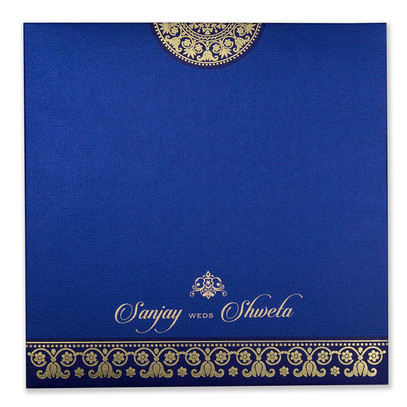 Multifaith wedding card in royal blue with golden motifs - Click Image to Close