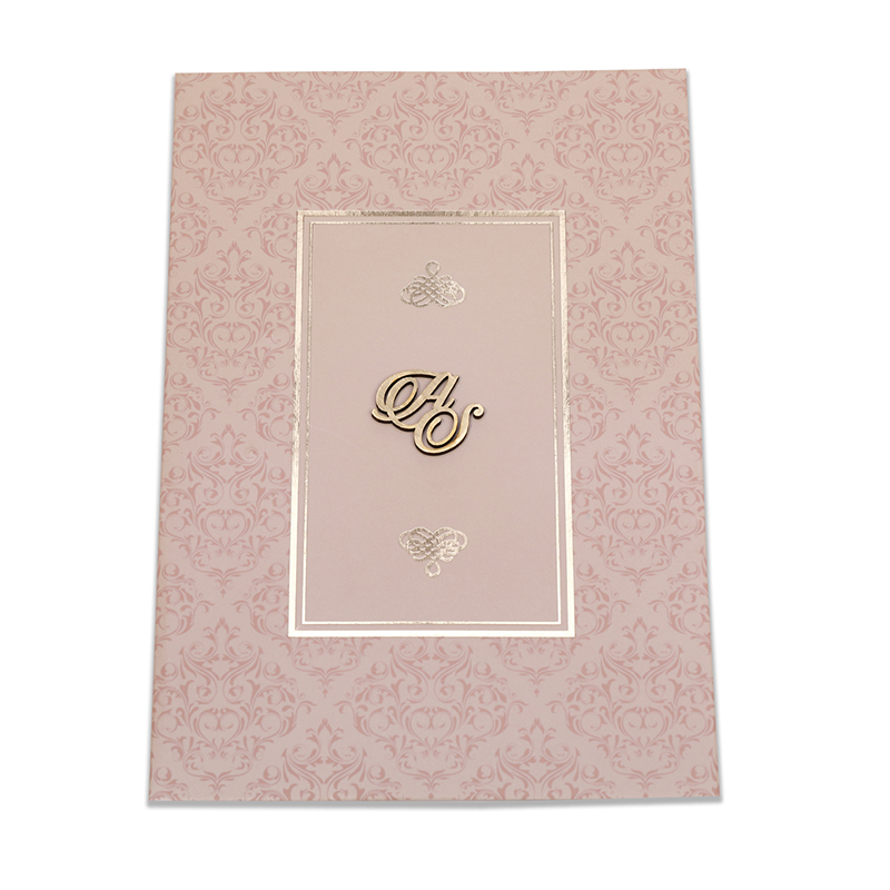 Multifaith wedding card in tan colour with lasercut name initials - Click Image to Close