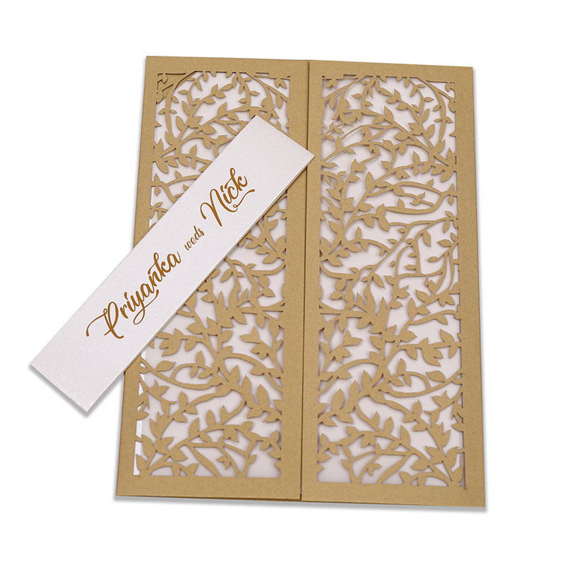 Multifaith wedding card with intricate laser cut leaf design in golden - Click Image to Close