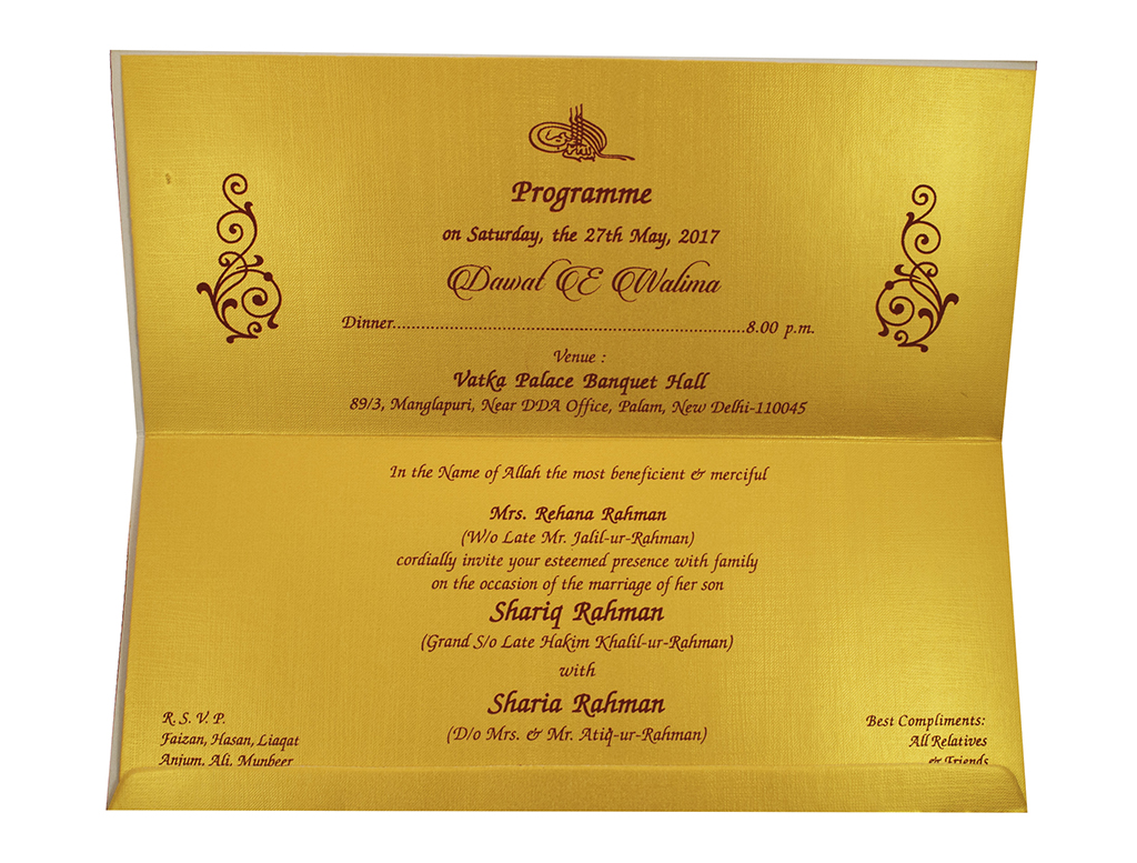 wedding card in Yellow-golden with a folding insert