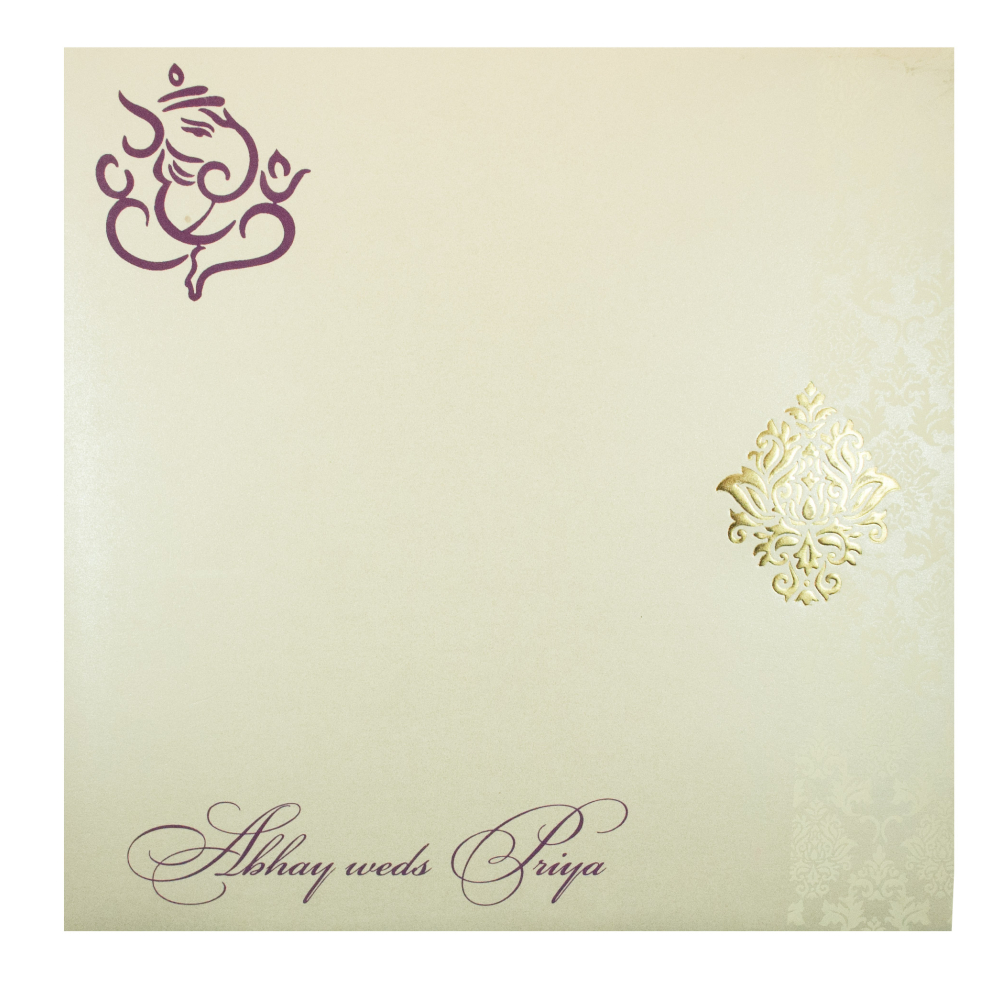 Wedding Invitation in Purple with Gate Fold Design