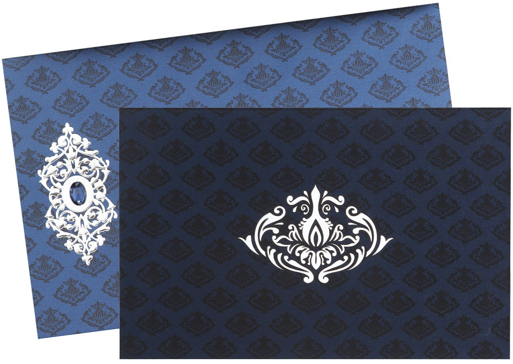 Navy Blue and Silver Card with Laser-cut Design