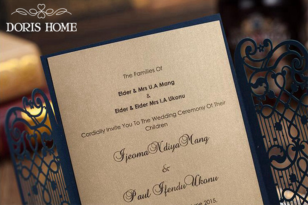 Navy Blue Elegant Wedding Invitation With Laser Cut Flowers - Click Image to Close