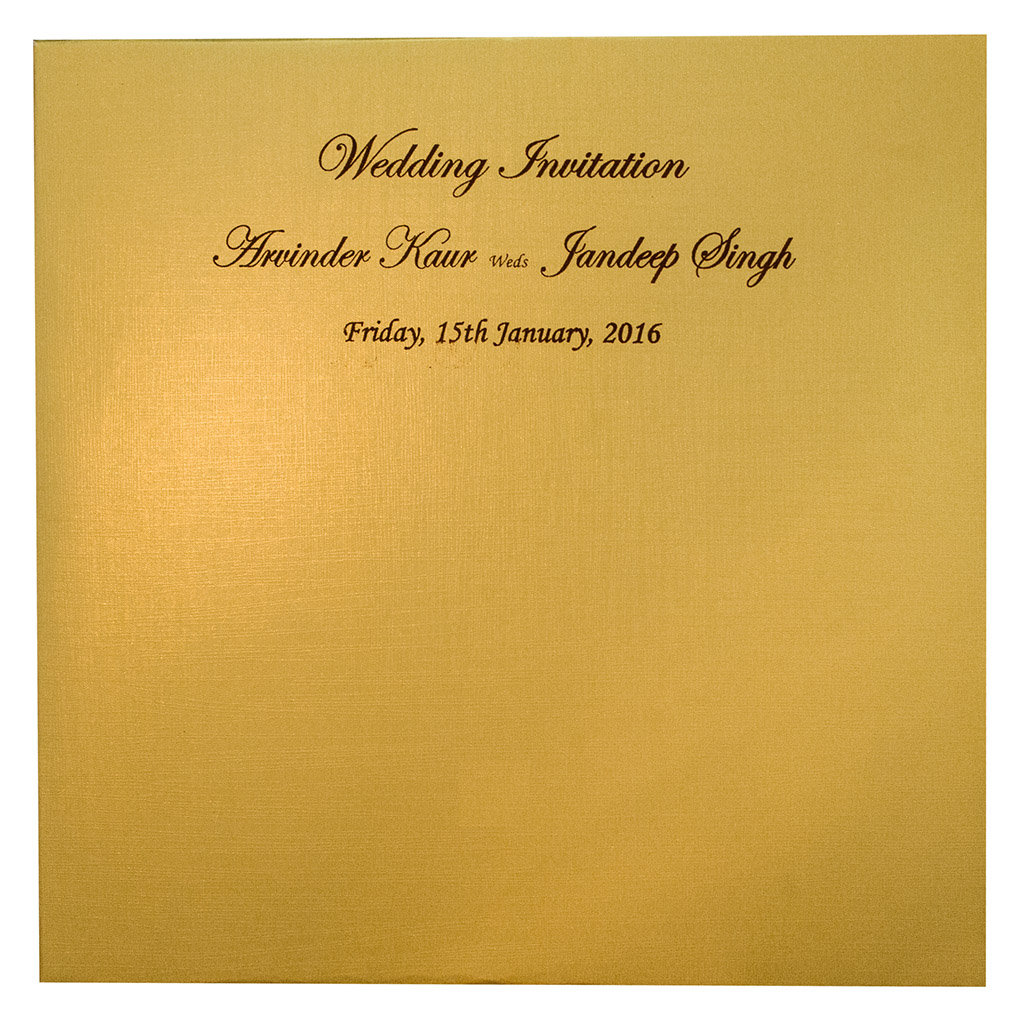 Green Wedding Invite with Golden Motifs