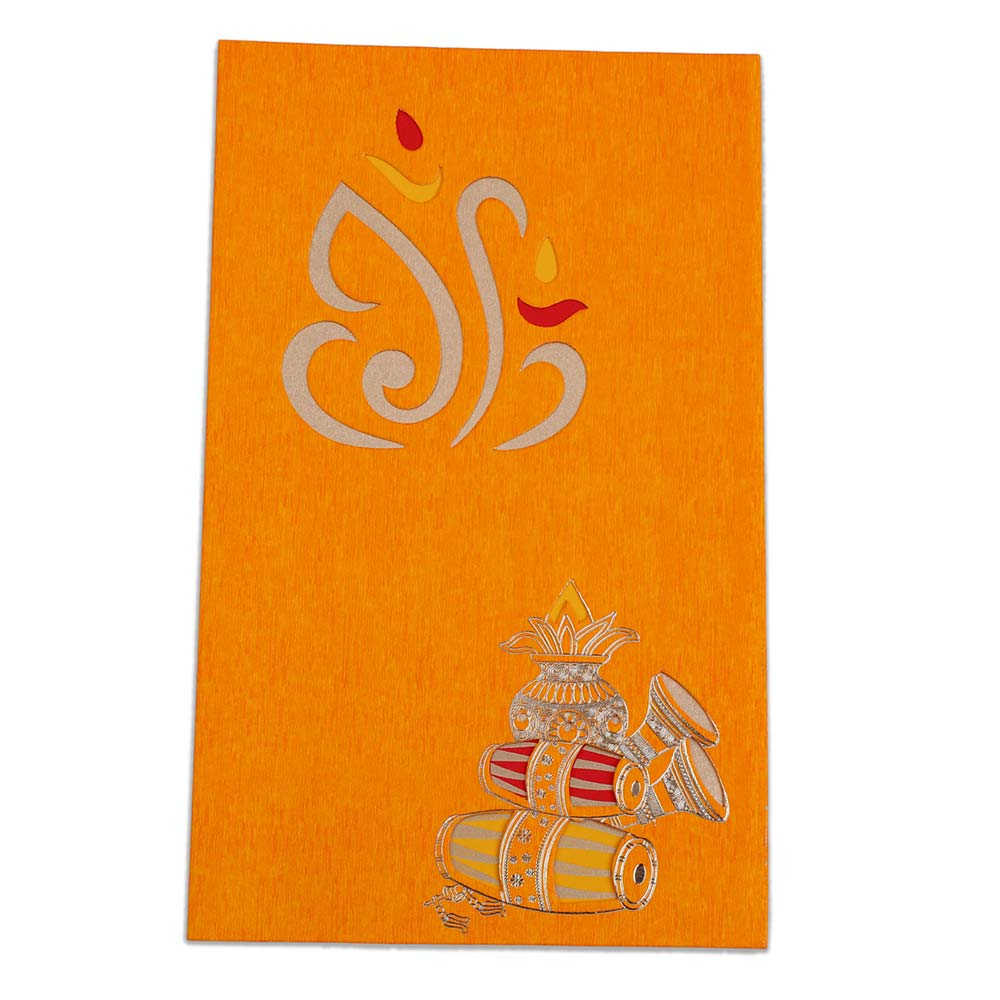 Orange colour wedding invite with Ganesha and musical instruments - Click Image to Close