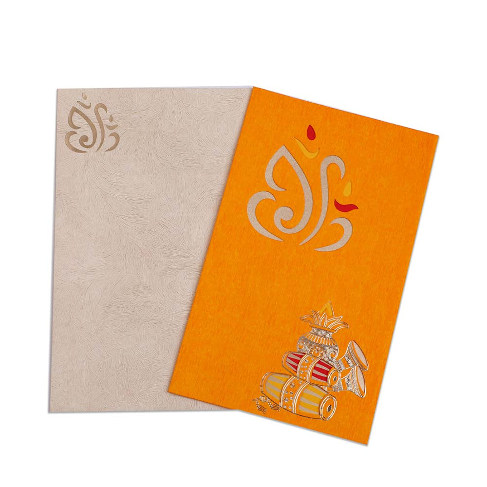 Orange colour wedding invite with Ganesha and musical instruments