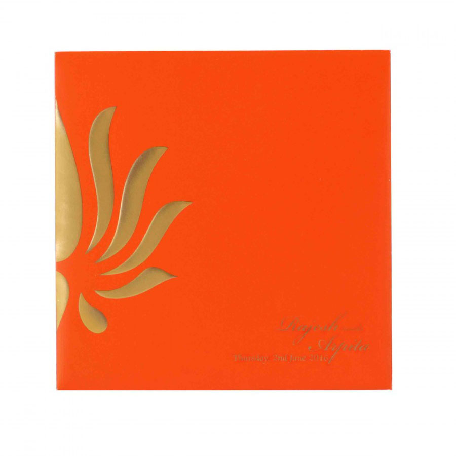 Orange Wedding Invitation with Lotus Design & Colored Inserts