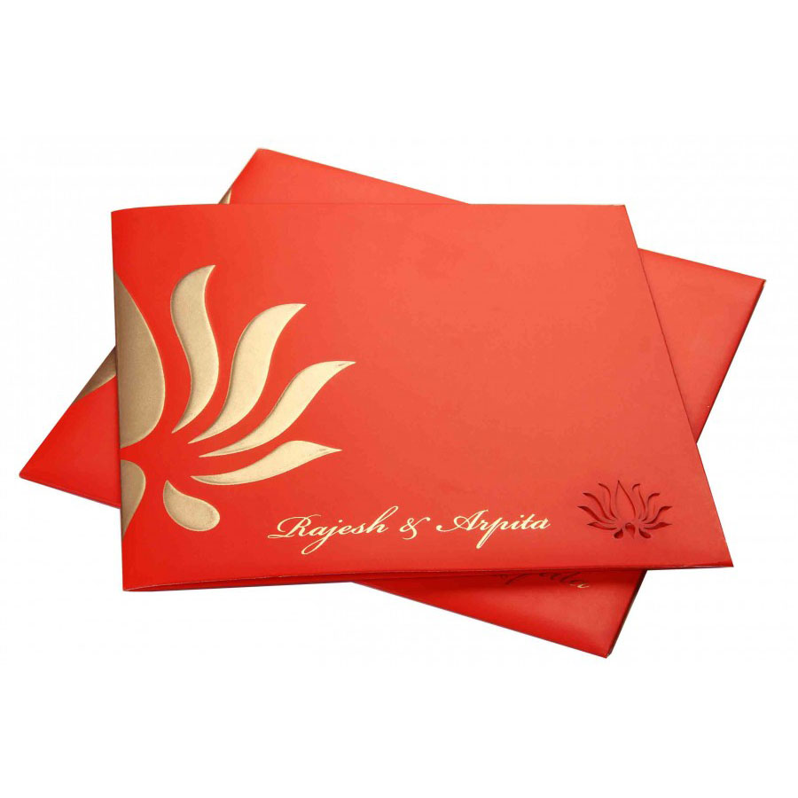 orange wedding invitation with lotus design colored inserts