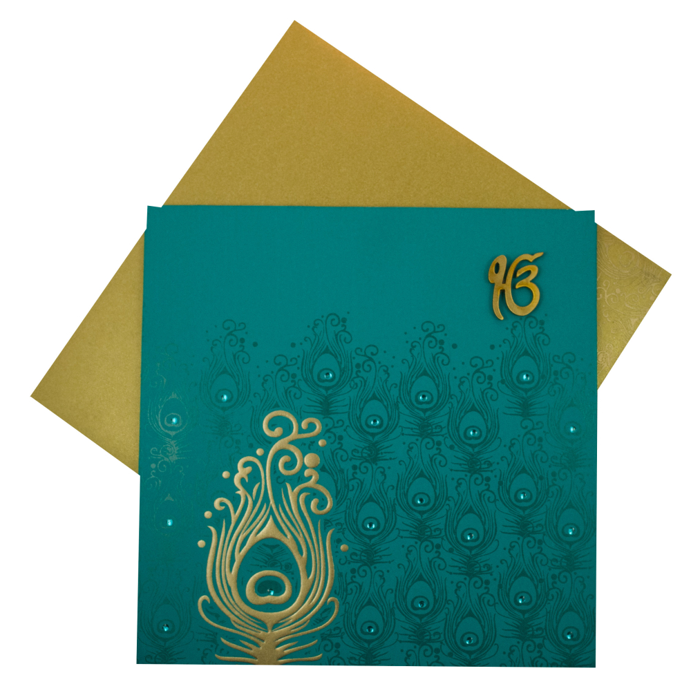 Sikh Wedding Cards In Turquoise Blue With Peacock Design