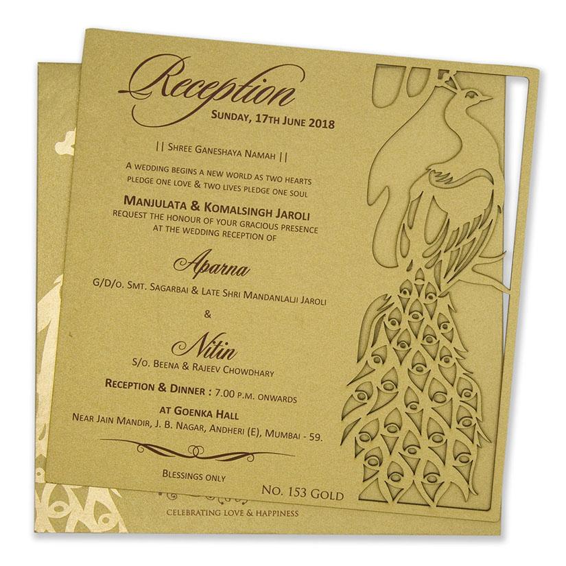 Peacock Themed Laser Cut Wedding Invitation In Cardboard