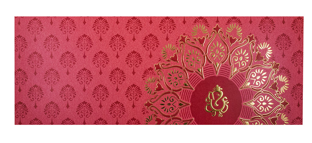 Color Modern Hindu Wedding Invitation with Flower Design
