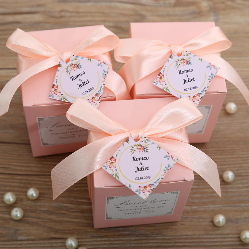Pink color square wedding favor and gift boxes