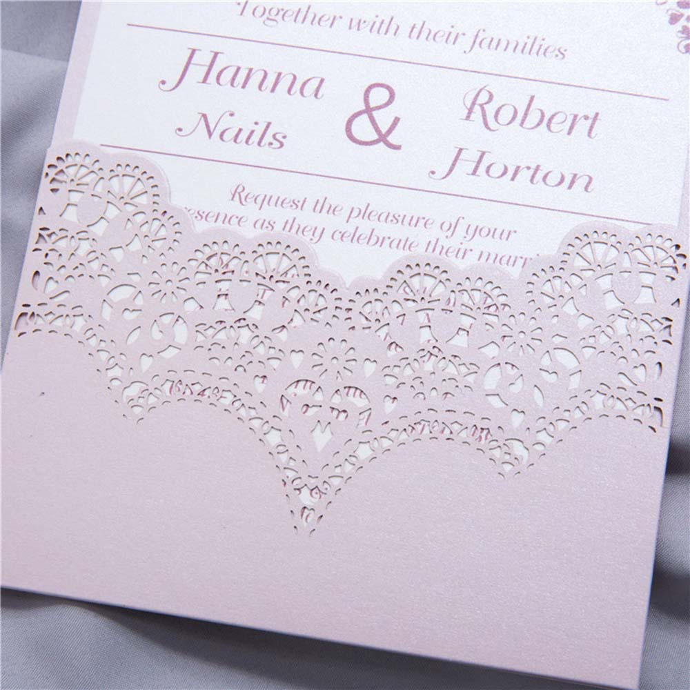 Pink colour Christian wedding invitation with a laser cut pocket - Click Image to Close