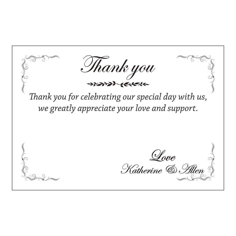 Printed thank you cards wedding stationery with envelopes