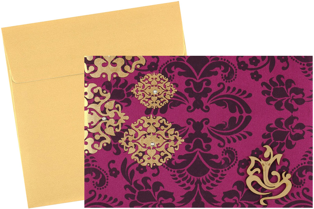 Purple wedding invitation card with golden satin design stopboris Gallery