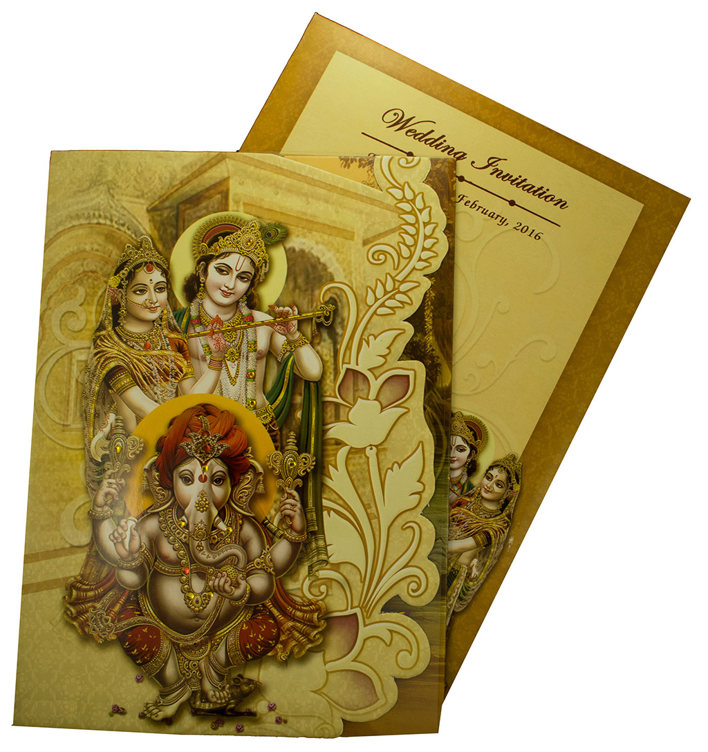 Radha Krishna themed wedding invite with narrative images