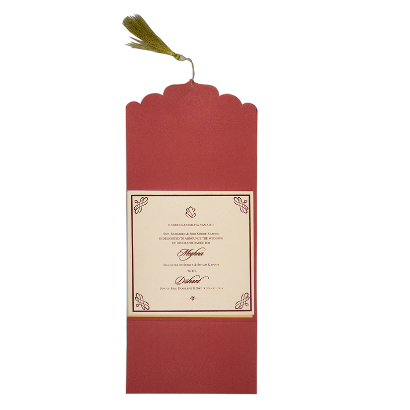 Red color multifaith Indian wedding card in floral golden pattern - Click Image to Close