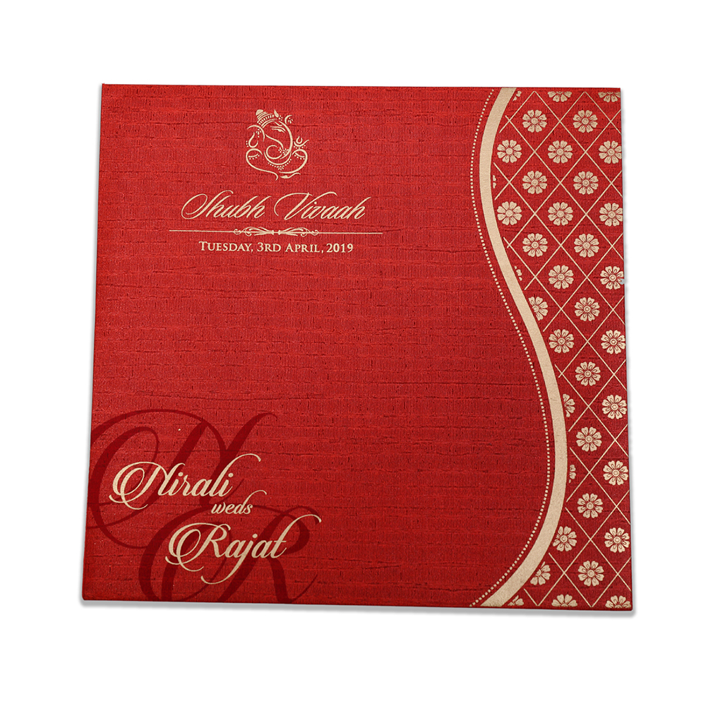 Red colour modern Indian wedding card with flower pattern - Click Image to Close
