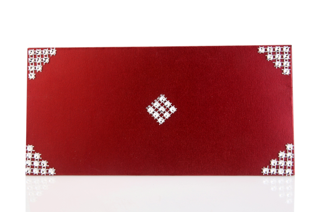 Red Shagun Envelope with Silver Lace on Corners