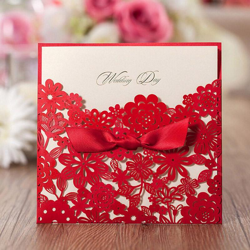 Red Square Laser Cut Flower with Bowknot Lace Pocket Wedding Invitations Card
