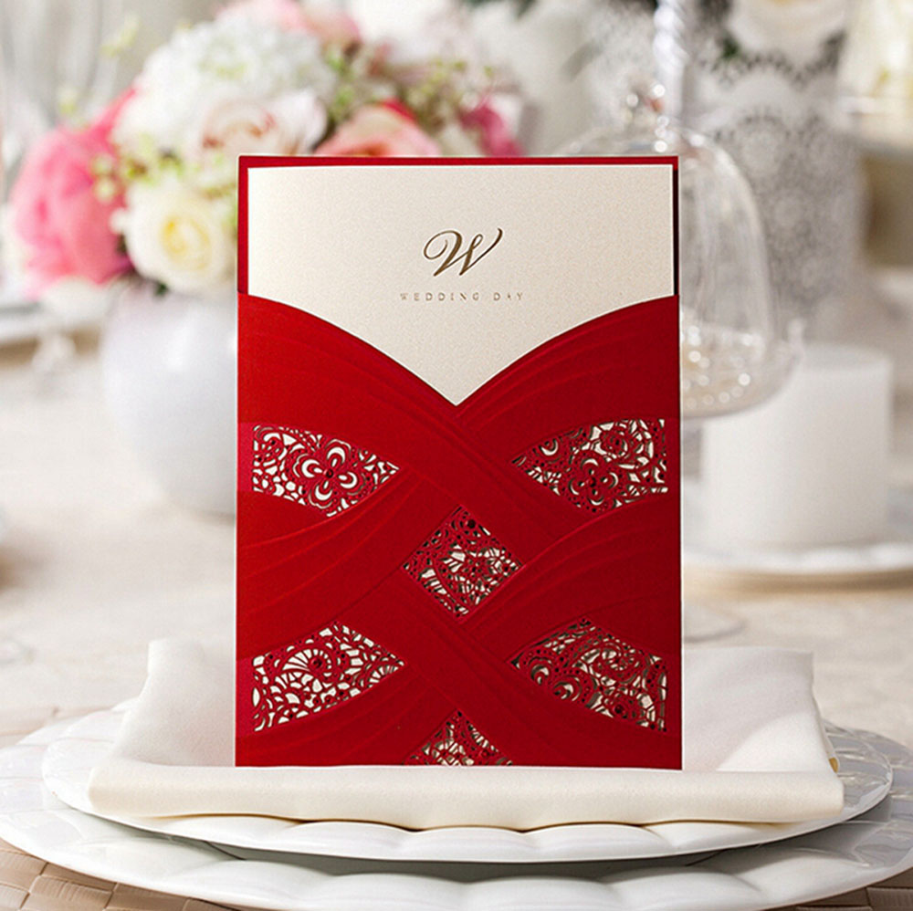 Red Wedding Invitation Cards With Laser Cut Pearl Pattern - Click Image to Close