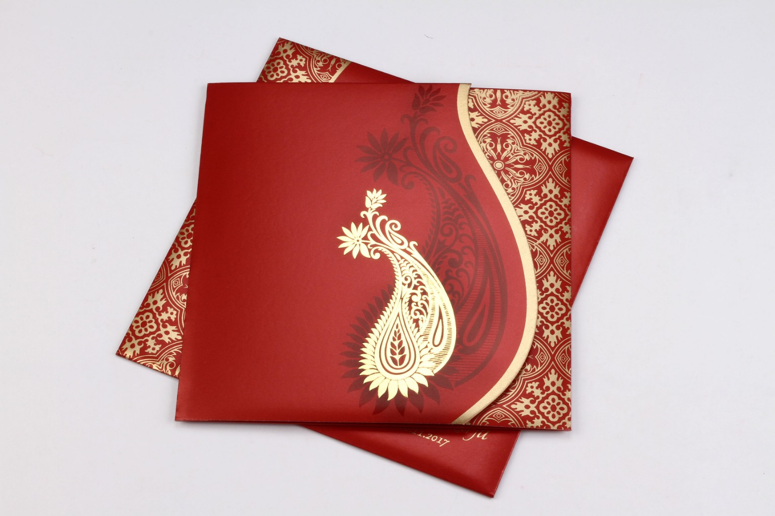 Red wedding invite with golden paisley design - Click Image to Close