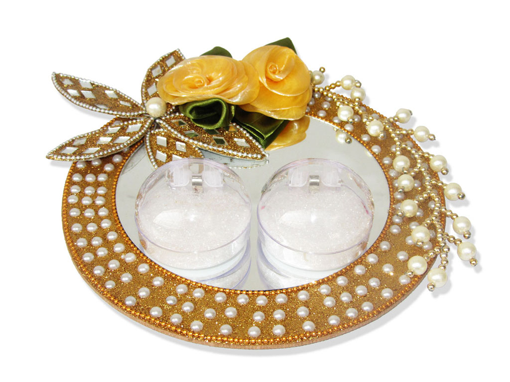 Buy wedding decoration accessories online wedding ceremony indian wedding ceremony essentials ring ceremony tray in golden with flowers white pearls junglespirit Gallery