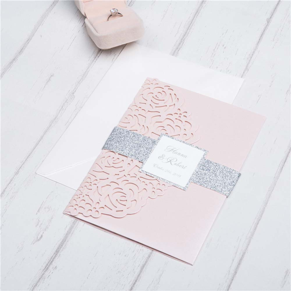 Rose theme Tri-fold Laser Cut Wedding Invitation in pink colour - Click Image to Close