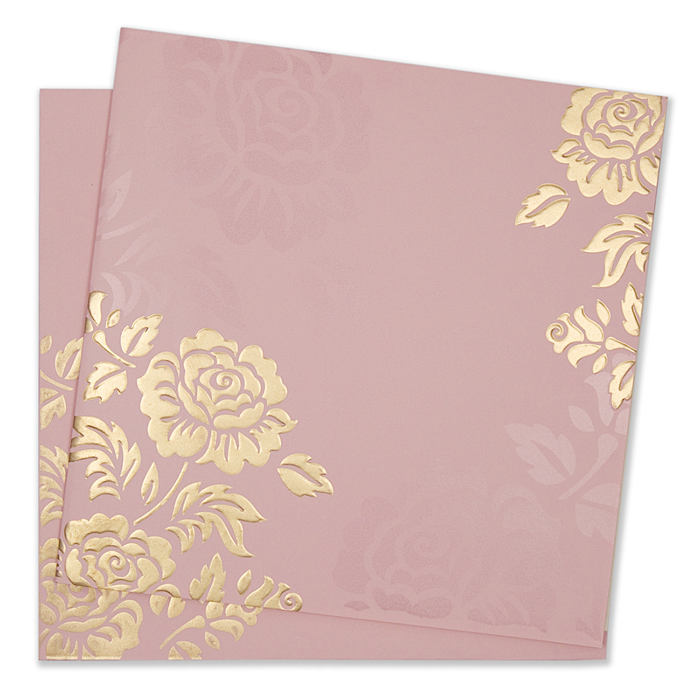 themed indian wedding invitation in rose gold colour
