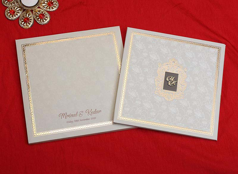 Royal Floral Indian Wedding Card in Cream and Golden Colour - Click Image to Close