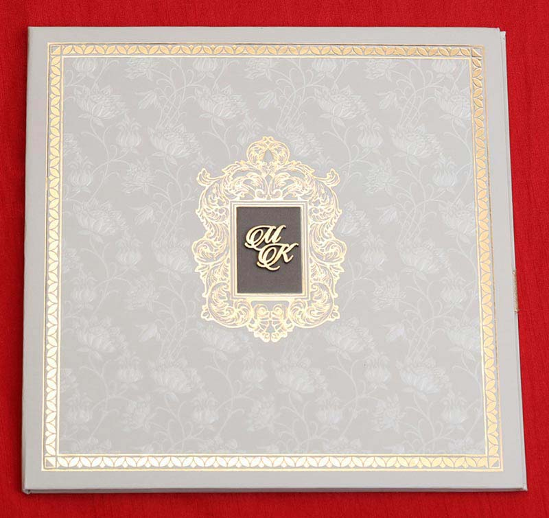 Royal Floral Indian Wedding Card in Cream and Golden Colour