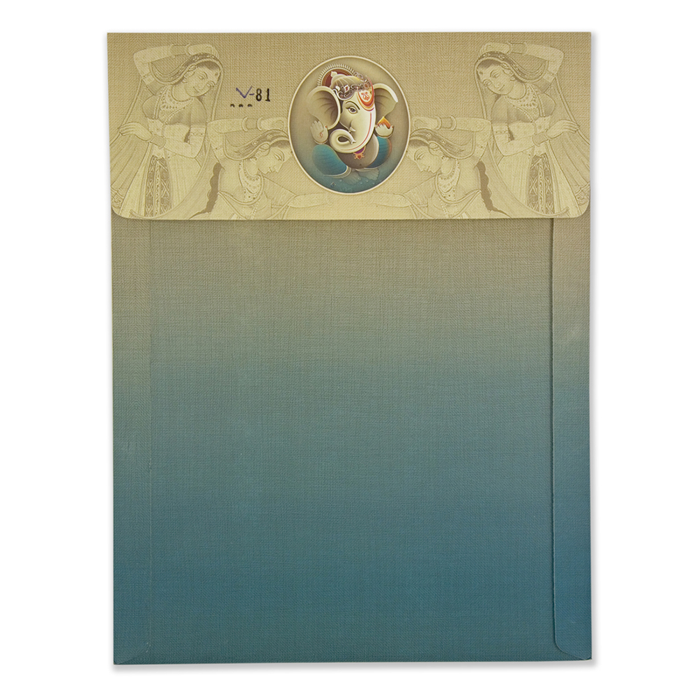 Hindu wedding card in shades of Blue and Beige