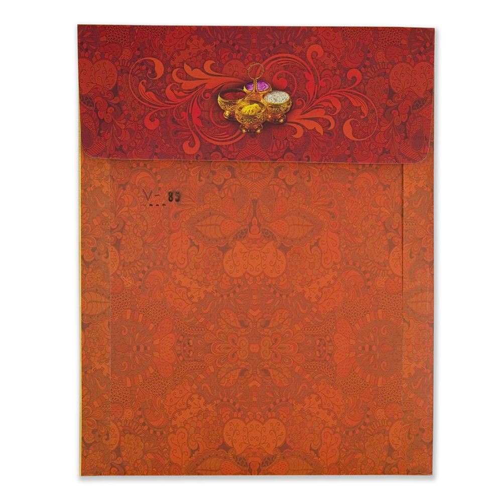 Royal hindu wedding invitation card with bride & groom