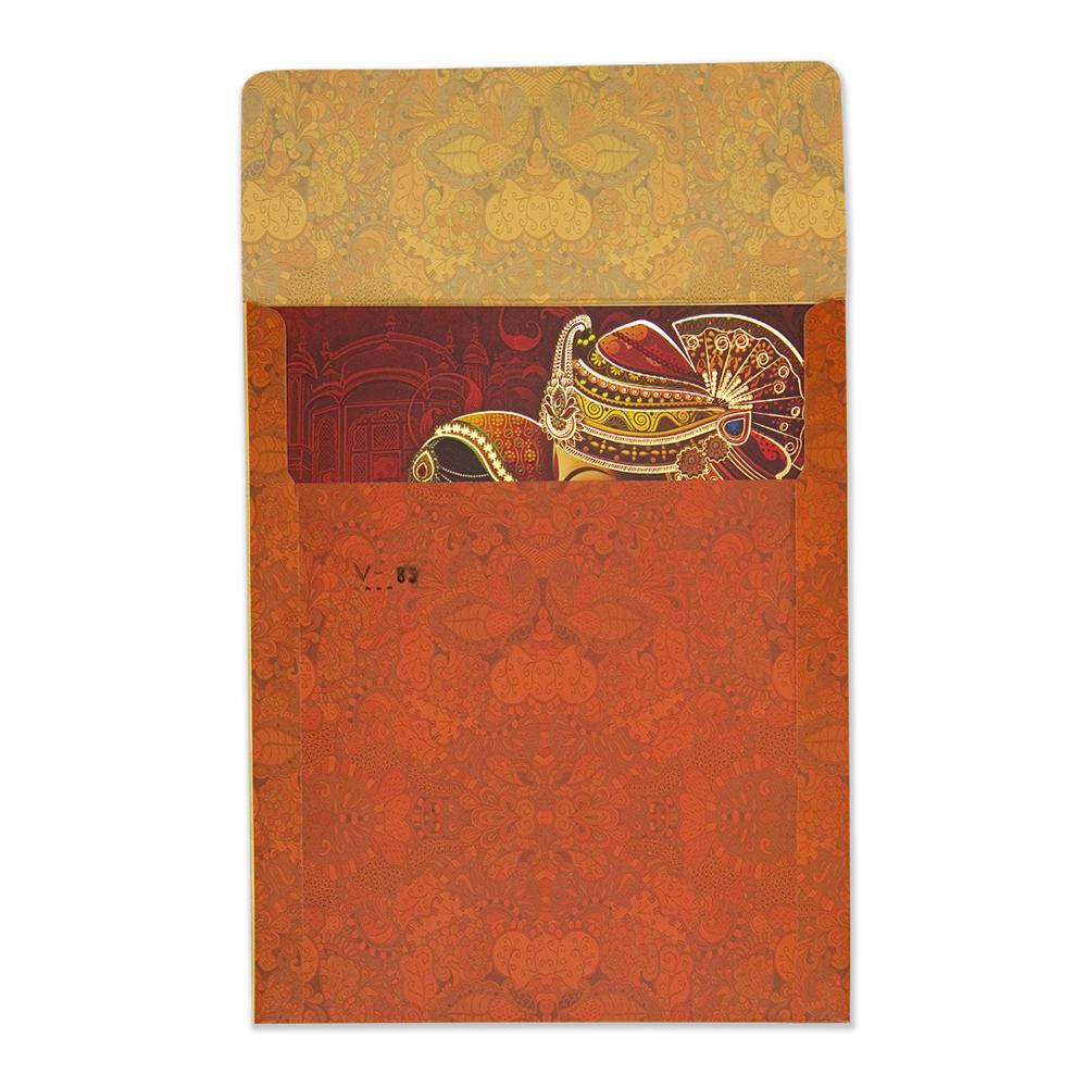 Royal hindu wedding invitation card with bride & groom